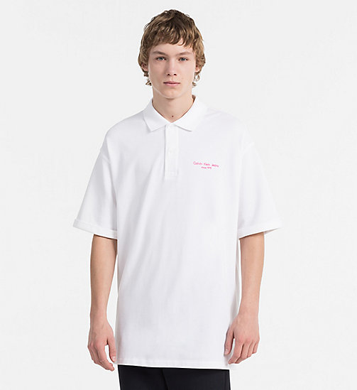 CALVIN KLEIN JEANS Relaxed Cotton Piqué Polo - BRIGHT WHITE - CALVIN KLEIN JEANS HEAT WAVE - main image