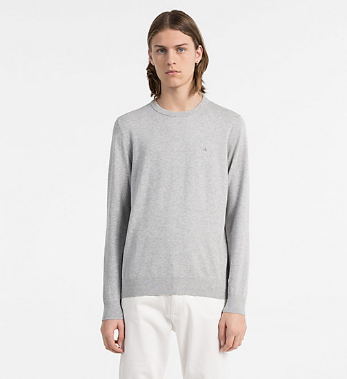 CALVIN KLEIN JEANS Sweater aus Baumwoll-Mix - LIGHT GREY HEATHER -  CLOTHES - main image