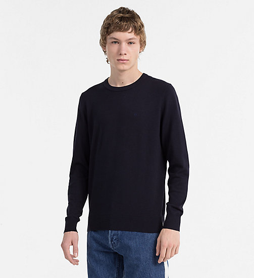 CALVIN KLEIN JEANS Cotton Blend Sweater - NIGHT SKY - CALVIN KLEIN JEANS CLOTHES - main image