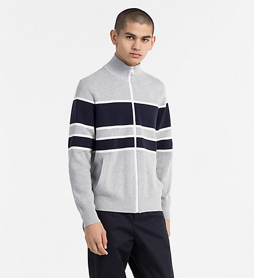 CALVIN KLEIN JEANS Cotton Stripe Zip-Through Cardigan - LIGHT GREY HEATHER - CALVIN KLEIN JEANS CLOTHES - main image