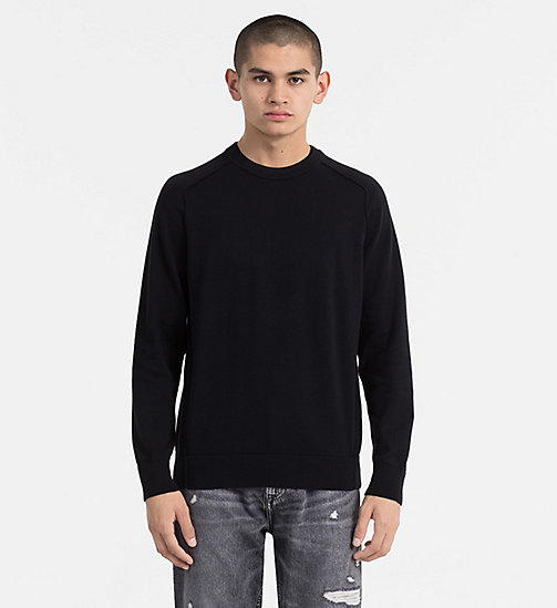 CALVIN KLEIN JEANS Combed Cotton Sweater - CK BLACK - CALVIN KLEIN JEANS NEW IN - main image