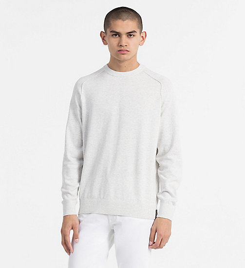 CALVIN KLEIN JEANS Combed Cotton Jumper - WHITE HEATHER - CALVIN KLEIN JEANS NEW IN - main image
