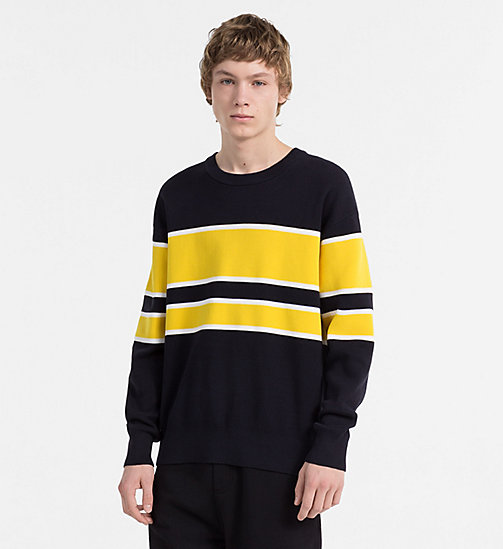 CALVIN KLEIN JEANS Cotton Block Stripe Jumper - NIGHT SKY - CALVIN KLEIN JEANS JUMPERS - main image