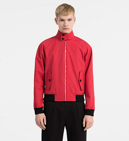 CALVIN KLEIN JEANS Coated Cotton Jacket - TANGO RED - CALVIN KLEIN JEANS TRUE COLOURS - main image