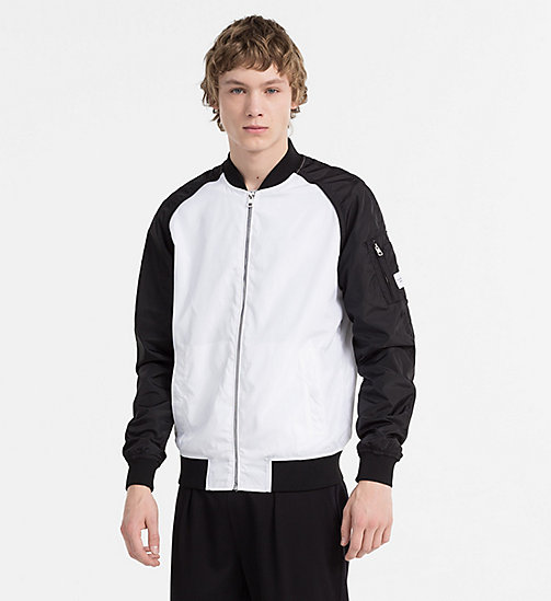 CALVIN KLEIN JEANS Nylon Bomber Jacket - BRIGHT WHITE / CK BLACK - CALVIN KLEIN JEANS NEW IN - main image
