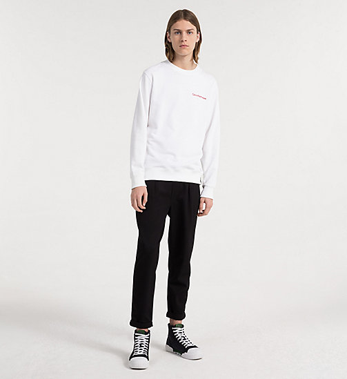 CALVIN KLEIN JEANS Embroidered Logo Sweatshirt - BRIGHT WHITE - CALVIN KLEIN JEANS CLOTHES - detail image 1