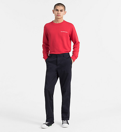 CALVIN KLEIN JEANS Embroidered Logo Sweatshirt - TANGO RED - CALVIN KLEIN JEANS TRUE COLOURS - detail image 1