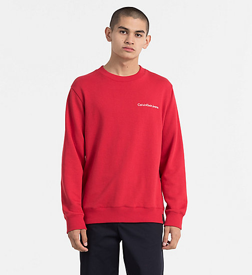 CALVIN KLEIN JEANS Embroidered Logo Sweatshirt - TANGO RED - CALVIN KLEIN JEANS TRUE COLOURS - main image