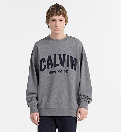 CALVIN KLEIN JEANS Appliquéd Logo Sweatshirt - MID GREY HEATHER - CALVIN KLEIN JEANS NEW IN - main image