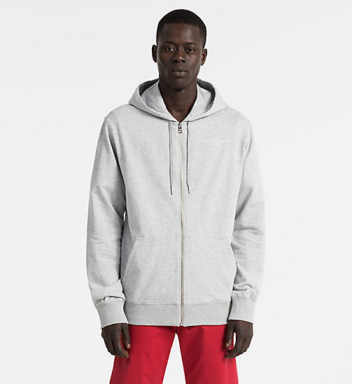 CALVIN KLEIN JEANS Zip-Through Hoodie - LIGHT GREY HEATHER - CALVIN KLEIN JEANS NEW IN - main image