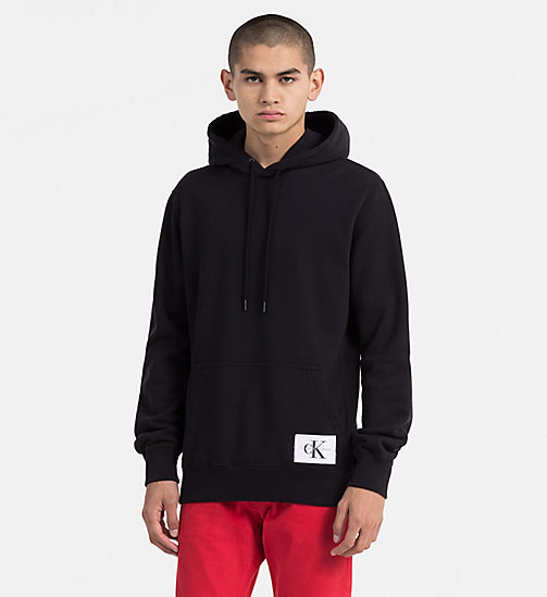 CALVIN KLEIN JEANS Cotton Terry Hoodie - CK BLACK - CALVIN KLEIN JEANS NEW IN - main image