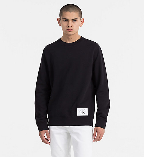 CALVIN KLEIN JEANS Cotton Terry Sweatshirt - CK BLACK - CALVIN KLEIN JEANS TRUE COLOURS - main image