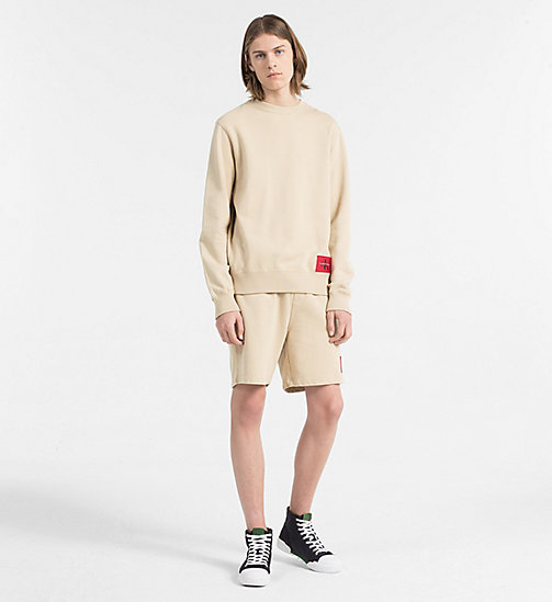 CALVIN KLEIN JEANS Cotton Terry Sweatshirt - SAFARI - CALVIN KLEIN JEANS NEW IN - detail image 1