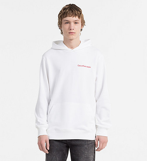 CALVIN KLEIN JEANS Embroidered Logo Hoodie - BRIGHT WHITE - CALVIN KLEIN JEANS TRUE COLOURS - main image