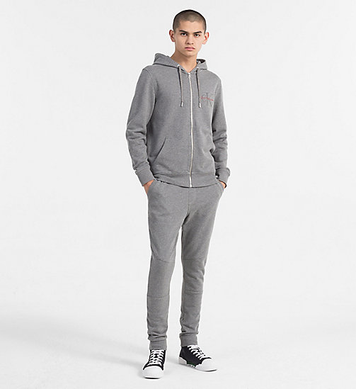 CALVIN KLEIN JEANS Zip-Through Logo Hoodie - MID GREY HEATHER - CALVIN KLEIN JEANS NEW IN - detail image 1