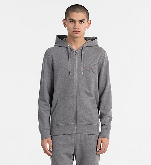 CALVIN KLEIN JEANS Zip-Through Logo Hoodie - MID GREY HEATHER - CALVIN KLEIN JEANS NEW IN - main image
