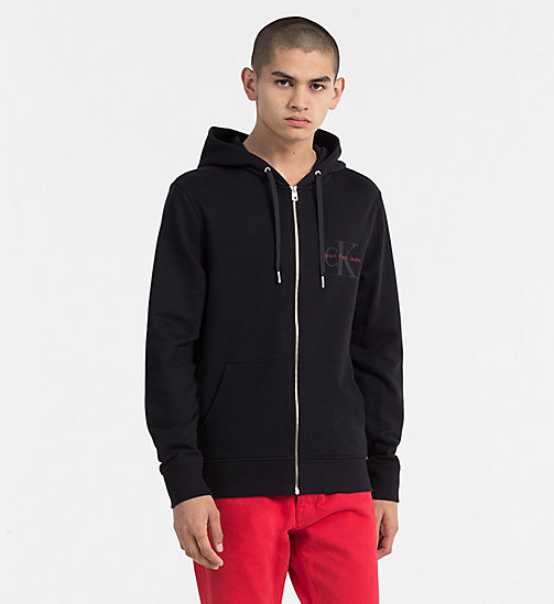 CALVIN KLEIN JEANS Zip-Through Logo Hoodie - CK BLACK - CALVIN KLEIN JEANS NEW IN - main image