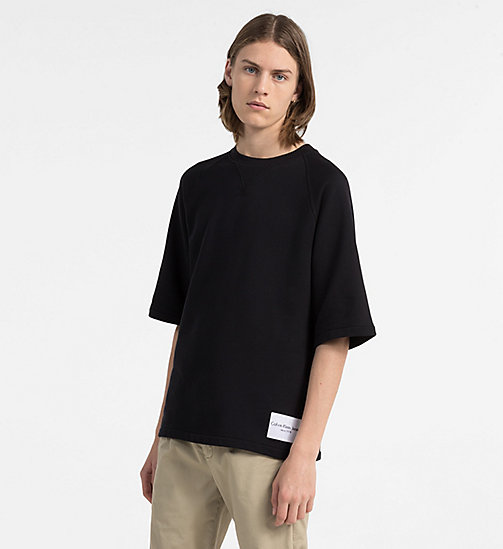 CALVIN KLEIN JEANS Cotton Terry Sweatshirt - CK BLACK - CALVIN KLEIN JEANS NEW IN - main image