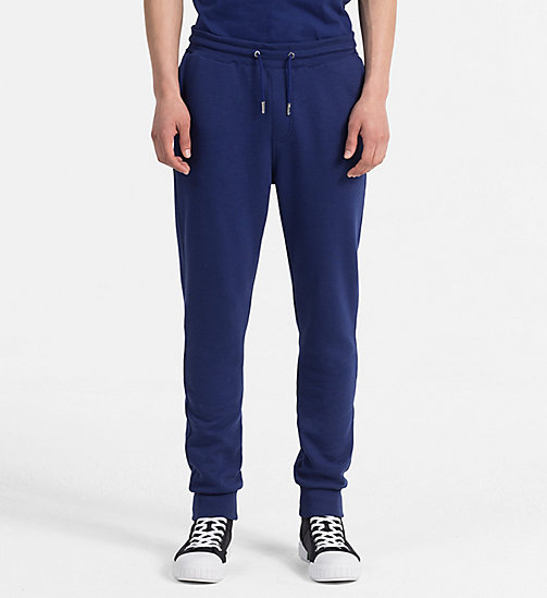 CALVIN KLEIN JEANS Cotton Blend Jogging Pants - BLUE DEPTHS - CALVIN KLEIN JEANS NEW IN - main image
