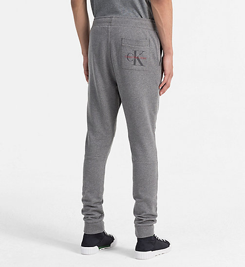 CALVIN KLEIN JEANS Slim Cotton Terry Sweatpants - MID GREY HEATHER - CALVIN KLEIN JEANS LOGO SHOP - detail image 1