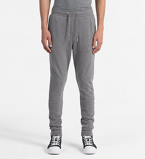 CALVIN KLEIN JEANS Slim Cotton Terry Sweatpants - MID GREY HEATHER - CALVIN KLEIN JEANS LOGO SHOP - main image