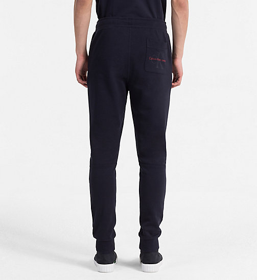 CALVIN KLEIN JEANS Slim Cotton Terry Sweatpants - NIGHT SKY - CALVIN KLEIN JEANS CLOTHES - detail image 1