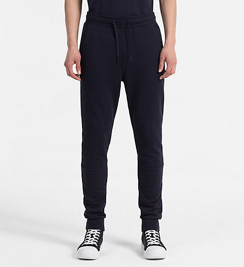 CALVIN KLEIN JEANS Slim Cotton Terry Sweatpants - NIGHT SKY - CALVIN KLEIN JEANS LOGO SHOP - main image