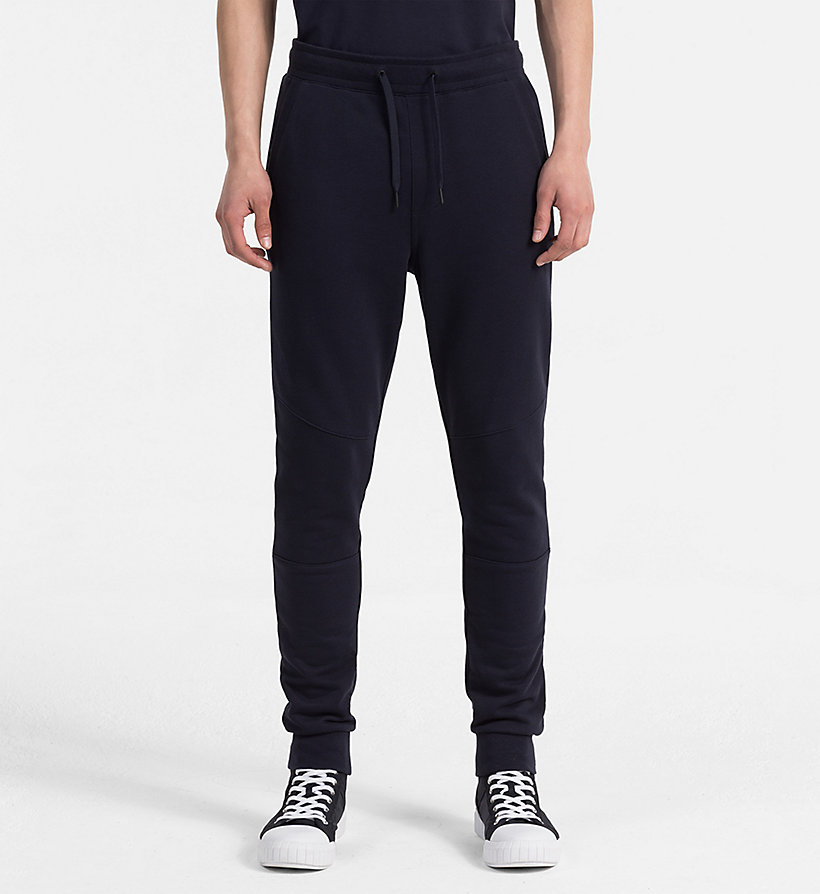 CALVIN KLEIN JEANS Slim Cotton Terry Sweatpants - MID GREY HEATHER - CALVIN KLEIN JEANS MEN - main image