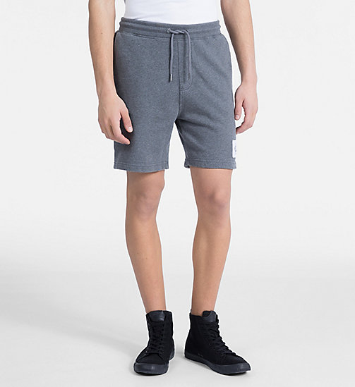 CALVIN KLEIN JEANS Cotton Terry Sweatshorts - MID GREY HEATHER - CALVIN KLEIN JEANS NEW IN - main image