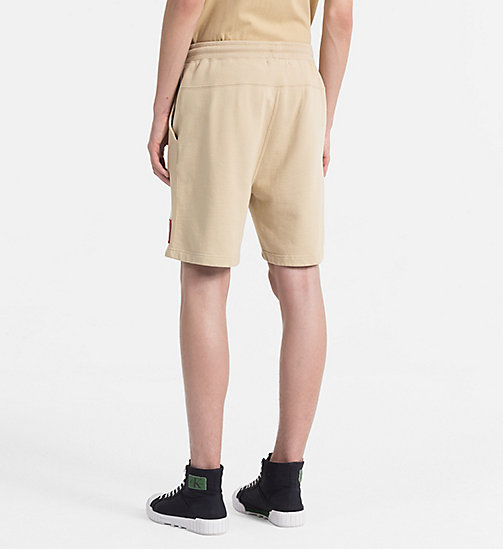 CALVIN KLEIN JEANS Slim Cotton Terry Sweatshorts - SAFARI - CALVIN KLEIN JEANS NEW IN - detail image 1