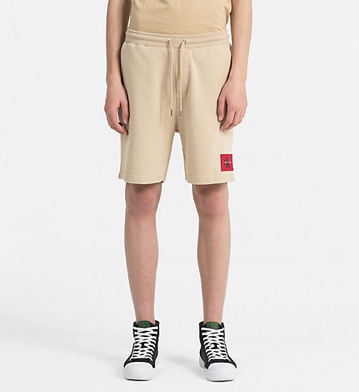 CALVIN KLEIN JEANS Slim Cotton Terry Sweatshorts - SAFARI - CALVIN KLEIN JEANS CLOTHES - main image