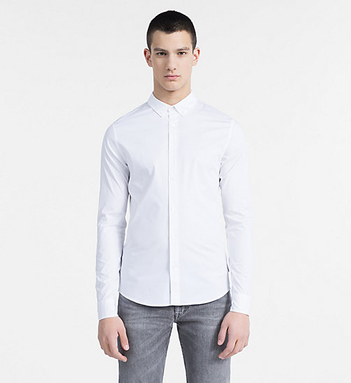 CALVIN KLEIN JEANS Slim Stretch Poplin Shirt - BRIGHT WHITE - CALVIN KLEIN JEANS CLOTHES - main image