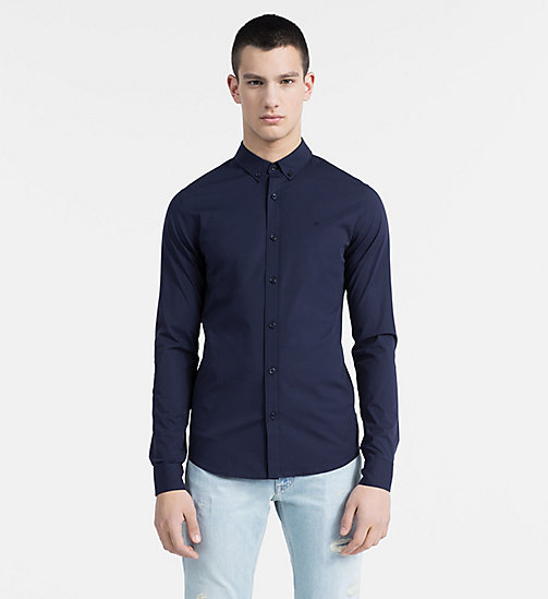 CALVIN KLEIN JEANS Slim Stretch Poplin Shirt - NIGHT SKY -  CLOTHES - main image