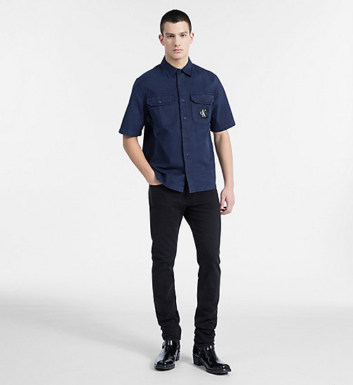 CALVIN KLEIN JEANS Cotton Twill Utility Shirt - NIGHT SKY - CALVIN KLEIN JEANS #MYCALVINS MEN - detail image 1