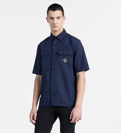 CALVIN KLEIN JEANS Cotton Twill Utility Shirt - NIGHT SKY - CALVIN KLEIN JEANS #MYCALVINS MEN - main image