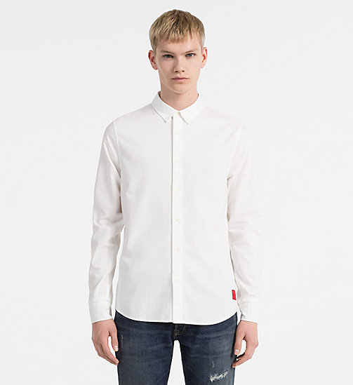 CALVIN KLEIN JEANS Slim Oxford Cotton Shirt - BRIGHT WHITE - CALVIN KLEIN JEANS CLOTHES - main image