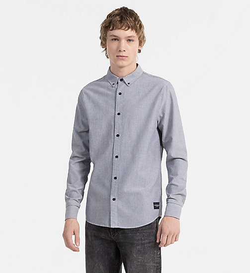 CALVIN KLEIN JEANS Slim Oxford Cotton Shirt - NIGHT SKY -  CLOTHES - main image