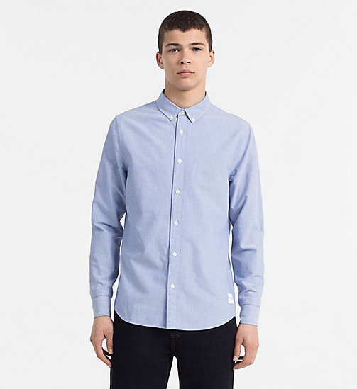 CALVIN KLEIN JEANS Slim Oxford Cotton Shirt - BALEINE BLUE - CALVIN KLEIN JEANS CLOTHES - main image