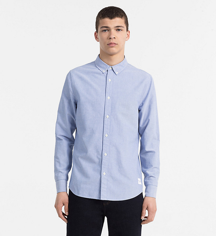 CALVIN KLEIN JEANS Slim Oxford Cotton Shirt - NIGHT SKY - CALVIN KLEIN JEANS MEN - main image