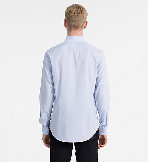 CALVIN KLEIN JEANS Slim Cotton Dobby Shirt - CHAMBRAY BLUE - CALVIN KLEIN JEANS CLOTHES - detail image 1