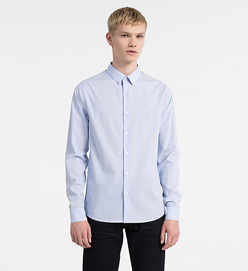 CALVIN KLEIN JEANS Slim Cotton Dobby Shirt - CHAMBRAY BLUE - CALVIN KLEIN JEANS NEW IN - main image