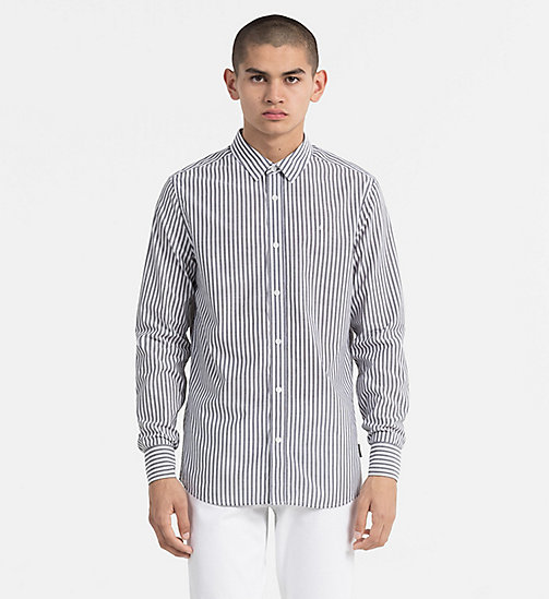 CALVIN KLEIN JEANS Regular Stripe Shirt - BRIGHT WHITE / CK BLACK - CALVIN KLEIN JEANS NEW IN - main image