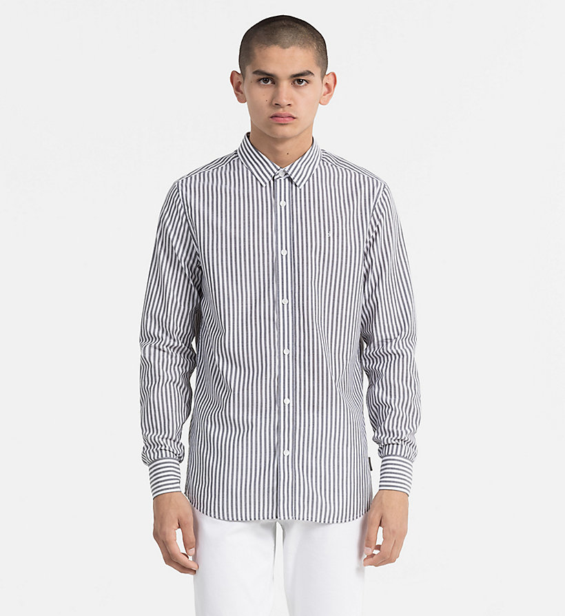 CALVIN KLEIN JEANS Regular Stripe Shirt - BRIGHT WHITE / SPECTRA YELLOW - CALVIN KLEIN JEANS MEN - main image