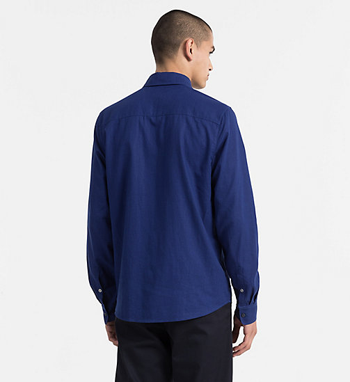 CALVIN KLEIN JEANS Regular Linen Cotton Shirt - BLUE DEPTHS - CALVIN KLEIN JEANS CLOTHES - detail image 1