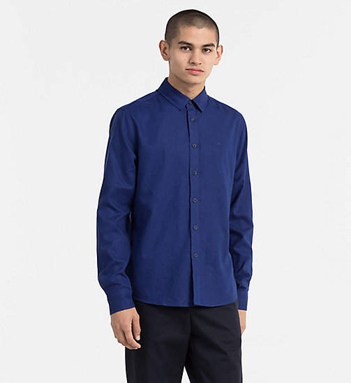 CALVIN KLEIN JEANS Regular Linen Cotton Shirt - BLUE DEPTHS - CALVIN KLEIN JEANS NEW IN - main image