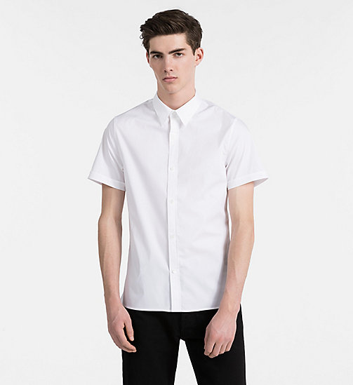 CALVIN KLEIN JEANS Slim Poplin Short-Sleeve Shirt - BRIGHT WHITE - CALVIN KLEIN JEANS CLOTHES - main image
