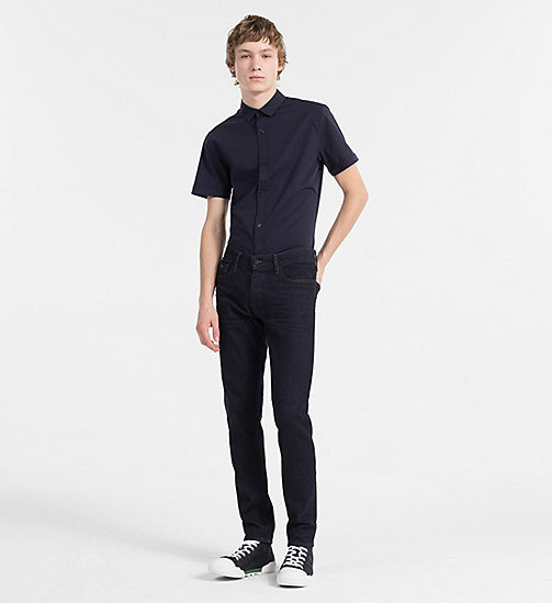 CALVIN KLEIN JEANS Slim Poplin Short-Sleeve Shirt - NIGHT SKY - CALVIN KLEIN JEANS CLOTHES - detail image 1