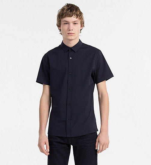 CALVIN KLEIN JEANS Slim Poplin Short-Sleeve Shirt - NIGHT SKY - CALVIN KLEIN JEANS CLOTHES - main image