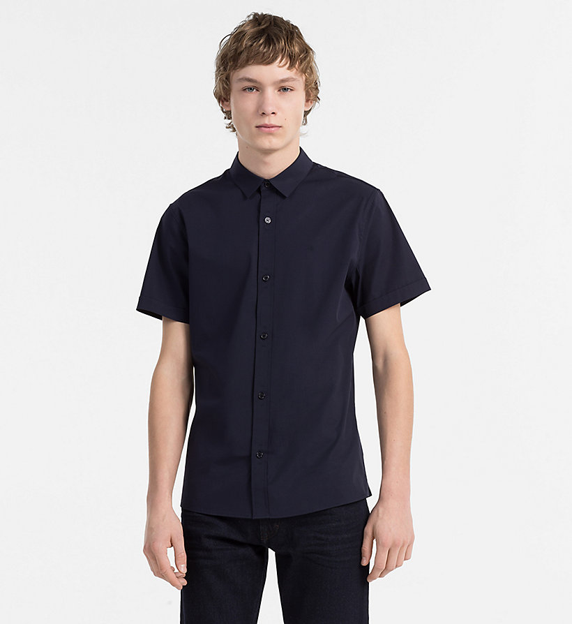 CALVIN KLEIN JEANS Slim Poplin Short-Sleeve Shirt - BRIGHT WHITE - CALVIN KLEIN JEANS MEN - main image