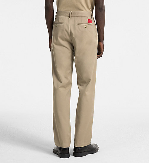CALVIN KLEIN JEANS Straight Chino Trousers - CORIANDER - CALVIN KLEIN JEANS TRUE COLOURS - detail image 1